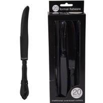 Formal Black Plastic Knives 20ct
