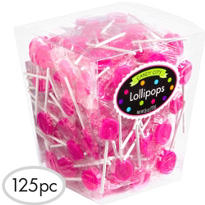 Bright Pink Lollipops 125pc