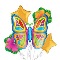 Foil Bright Butterfly Balloon Bouquet 5pc
