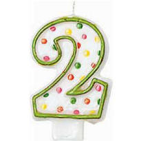 Green Outline Polka Dot Number 2 Candle