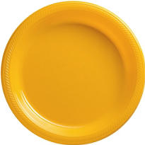Sunshine Yellow Plastic Dinner Plates 20ct