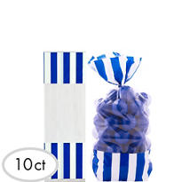 Royal Blue Striped Favor Bags 10ct