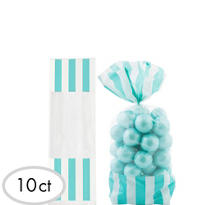 Robin Egg Blue Striped Favor Bags 10ct