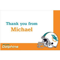 Miami Dolphins Custom Thank You Note