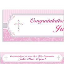 Pink Communion Blessings Custom Banner 6ft