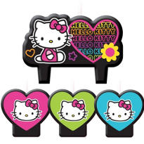 Rainbow Hello Kitty Birthday Candles 4ct