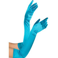 Adult Extra Long Peacock Blue Gloves