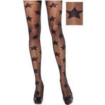 Adult Black Star Pantyhose