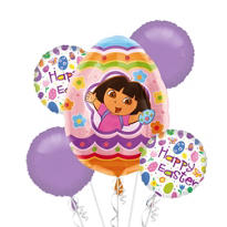 Egg Hunt Adventure Dora Balloon Bouquet 5pc