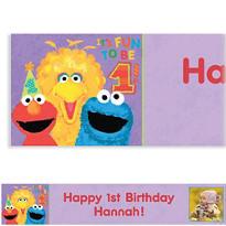 Sesame 1st Birthday Custom Photo Banner 6ft