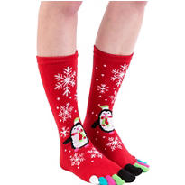 Holiday Penguin Toe Socks