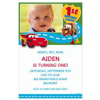 Cars 1st Birthday Custom Photo Invitation