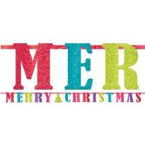 Glitter Merry Christmas Letter Banner