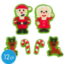 Santa and Reindeer Icing Decorations 12ct