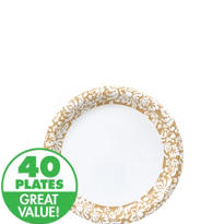 Gold Damask Dessert Plates 40ct