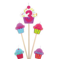 Number 3 Birthday Candle and Cupcakes 5ct