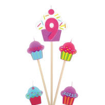 Number 9 & Cupcake Candle Picks 5ct