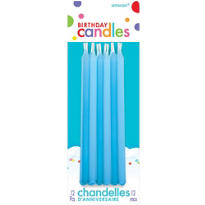 Bright Blue Mini Taper Birthday Candles 5in 12ct