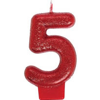 Number 5 Red Glitter Birthday Candle 3in