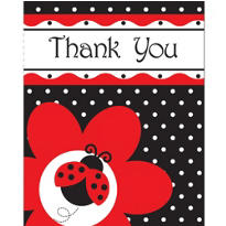 Fancy Ladybug Thank You Notes 8ct