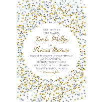 Custom Bunches of Hearts Gold Wedding Invitations