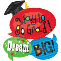 Foil Word Bubble Graduation Balloon 36in