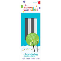 Black & White Sparkling Birthday Candles 7in 10ct