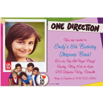 One Direction Custom Photo Invitation