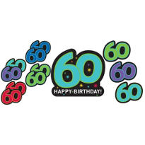 The Party Continues 60th Birthday Cutouts 12ct