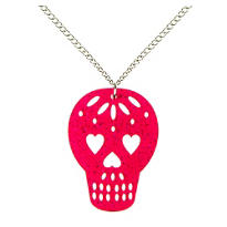 Pink Sugar Skull Necklace