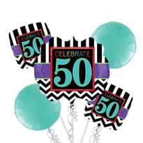 Celebrate 50th Birthday Balloon Bouquet 5pc