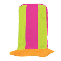 Tall Black Light Striped Neon Top Hat