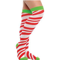 Candy Cane Striped Over-the-Knee Socks