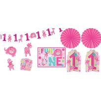 Wild at One Girl's 1st Birthday Room Decorating Kit 10pc