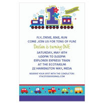 All Aboard Birthday Custom Invitation