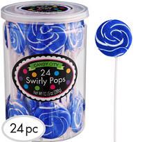 Swirly Royal Blue Lollipops 24pc