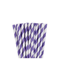 Purple Striped Paper Straws 24ct