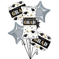Festive Grad Graduation Balloon Bouquet 6pc
