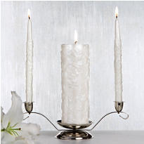 White Damask Unity Candle Set 3pc