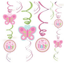 Girl Welcome Baby Swirl Decorations 12ct - Welcome Little One