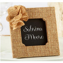 Burlap Flower Photo Frame Place Card Holder