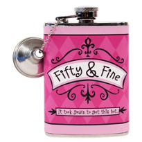 Fifty & Fine Birthday Flask