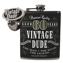 Vintage Dude 60th Birthday Flask