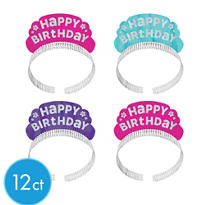 Glitter Purple & Teal Pastel Happy Birthday Tiara Headbands 12ct