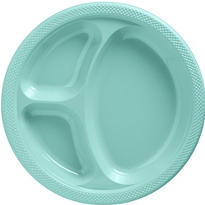 Robin's Egg Blue Plastic Divided Dinner Plates 20ct