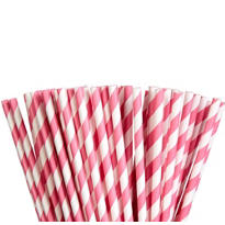 Bright Pink Striped Paper Straws 80ct
