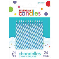 Blue Candy Stripe Birthday Candles 2in 24ct