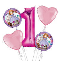 Sofia the First 1st Birthday Balloon Bouquet 5pc