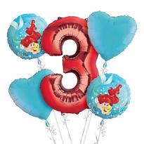 Little Mermaid 3rd Birthday Balloon Bouquet 5pc