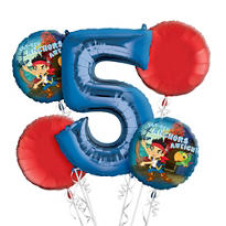 Jake and the Never Land Pirates 5th Birthday Balloon Bouquet 5pc